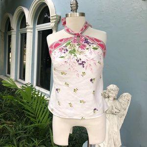 Ann Taylor Loft Halter Floral Top w/zipper.  Sz 8